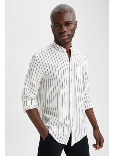 DeFacto Modern Fit Hakim Yaka Çizgili Uzun Kollu Gömlek Beyaz